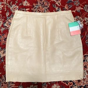 Wilson Leather Buttercream Tan Leather Skirt